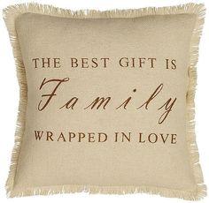 "Family Love Cream Rustic Country Throw Pillow 100% Cotton Woven Burlap 16"" x 16"" #VictorianHeartCo #RusticPrimitive"