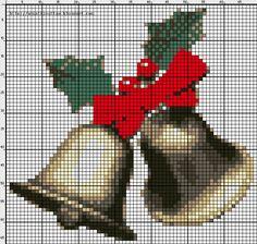 pair of bells Cross Stitch Art, Cross Stitching, Cross Stitch Patterns, Christmas Bells, Christmas Cross, Everything Cross Stitch, Stitch 2, Needlework, Embroidery