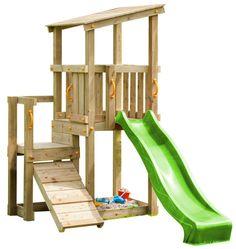 Blue Rabbit 2.0 Spielturm CASCADE mit Rutsche 2,30 m + Kletterrampe Spielhaus