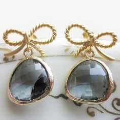 Charcoal Grey Crystal Earrings with Bow by Bridesmaids Jewelry & Gifts