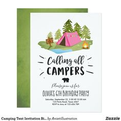 Camping Tent Invitation Birthday Camp out Girl Camping Parties, Camping Theme, Tent Camping, Camping Party Invitations, Invitation Birthday, Invite, 6th Birthday Parties, 70th Birthday, Birthday Ideas