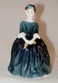 Vintage Bone China Colorful English Royal Doulton Figurine Cherie in Blue Dress H.N. 2341