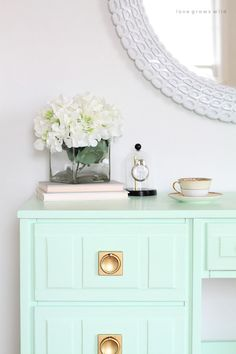 Desk painted with Olympic Paint in the color Sweet Pea. Love the hardware too…