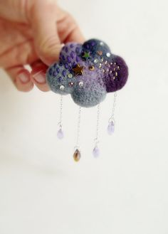 Rain Cloud Hand Felted Brooch Weather Jewelry by ShishLOOKdesign