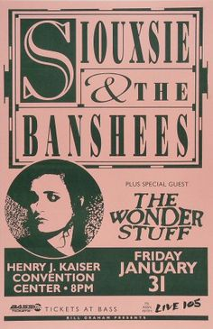 "Siouxsie & the Banshees Poster from Henry J. Kaiser Auditorium on 31 Jan 92: 11"" x 17"""