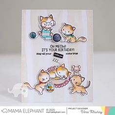 mama elephant | design blog: STAMP HIGHLIGHT: MY PET KITTIES Cute Birthday Cards, Birthday Messages, It's Your Birthday, Mama Elephant Cards, Little Kitty, Elephant Design, Cat Cards, Shaker Cards, Pink Rug