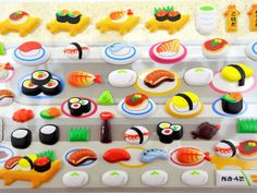 Japanese sushi line 3D puffy stickers  kawaii bento от 2FooDogs