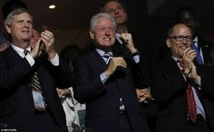 Former President Bill Clinton showed up on Wednesday night to cheer on the president. He sat alongside Agriculture Secretary Tom Vilsack and Labor Secretary Tom Perez