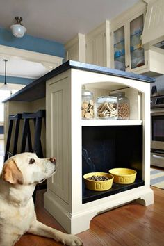 Give your pet a dedicated spot for their bowls and treat necessities by putting a shelf into the end of your kitchen island. #LoveYourHome