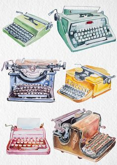 This is a set of high quality hand painted watercolor vintage typewriters clipart.These retro typewriters will be perfect for DIY,wedding Diy Design, Retro Design, Clipart, Retro Typewriter, Vintage Typewriters, Vintage Suitcases, Vintage Luggage, Digital Print, Vintage Theme