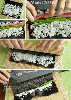 Homemade Sushi Tutorial! It's fun, easy, + you can con your friends and family into rolling their own dinner! #win Sushi Recipes, Seafood Recipes, Cooking Recipes, Eel Recipes, Dinner Recipes, How To Make Sushi, Food To Make, Sushi Sandwich, Sushi Rolls