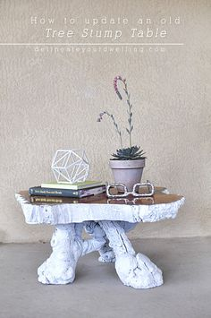 How to update an old Tree Stump Table and turn it into a statement piece in a few simple steps! Delineateyourdwelling.com