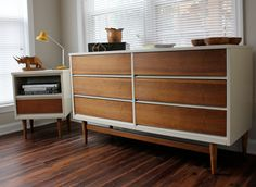 Inspiring Mid Century Dresser For Modern Home Furniture Ideas: Mid Century Dresser Beside Desk And Study With Wooden Floor For Home Office Ideas Apartment Furniture, Sofa Furniture, Unique Furniture, Furniture Plans, Rustic Furniture, Furniture Makeover, Furniture Design, Furniture Stores, Modular Furniture
