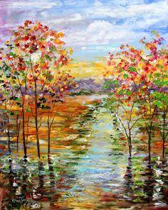 Original oil painting First Light Landscape by Karensfineart