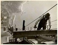 Construction worker on the Golden Gate Bridge. 1933-1937.