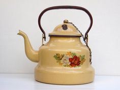 Alte Emaille Tea Pot - schäbig schicke Küche Dekor - Bauernhaus Decor - Country Cottage Chic