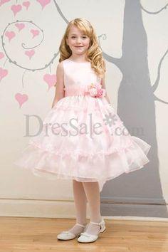 Baby Pink Tea-length Organza Flower Girls Dresses