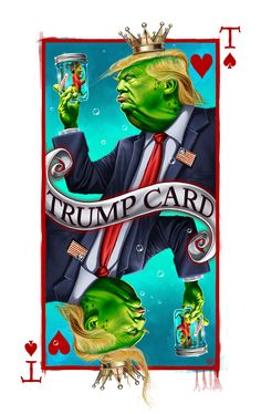 Pepe Trump Card (King of Hearts) Online Posters, Illustration, Caricature, King Of Hearts, Art, Ink, Comic Book Cover, Original Art, Ink Illustrations