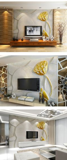 3d estéreo estilo chinês sofá ouro lotus parede do fundo da tevê impermeável papel de parede em Papéis de parede de Melhorias na casa no AliExpress.com