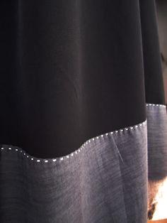 Love this little twist...  Sashiko stitch along hem..