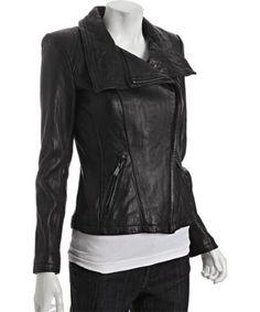 c7cf32f7e3e5d Michael Kors black asymmetrical zip leather moto jacket Suede Jacket