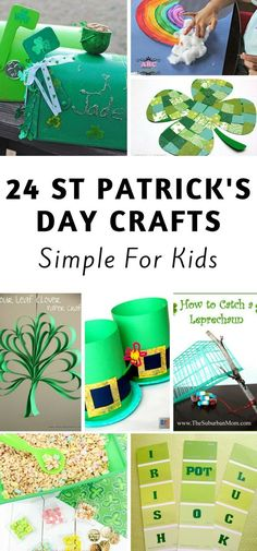 Here are 24 St Patrick's day crafts for kids. They are perfect for kids to get into the green holiday mood! St Patricks Day Crafts For Kids, St Patrick's Day Crafts, St Patricks Day Food, Holiday Crafts, Fun Crafts, Saint Patricks, Holiday Recipes, Holiday Decor, St Patrick's Day Cocktails