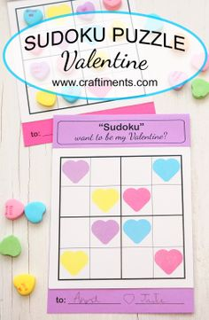 Free printable Sudoku puzzle valentine for kids - Craftiments