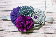 Purple Rain - headband in silver, grey, purple and mulberry (RTS) M2M Matilda Jane Paint by Numbers by SoTweetDesigns, $13.00
