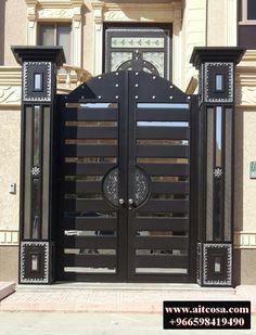 Home Gate Design, Front Gate Design, Main Gate Design, Gate Designs Modern, Steel Frame Doors, Wooden Main Door Design, Modern Front Door, Wrought Iron Doors, Grades
