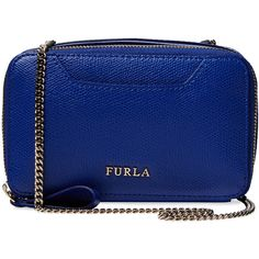 Furla Minnie Mini Crossbody (210 CAD) ❤ liked on Polyvore featuring bags, handbags, shoulder bags, blue, chain strap purse, leather purse, mini crossbody purse, crossbody purse and leather shoulder handbags