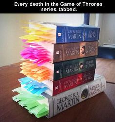 Someone put a post-it at every death in the Game of Thrones books. << I don't read Game of Thrones, but this is so ridiculous it's hilarious Game Of Thrones Books, Game Of Thrones Series, Game Thrones, Game Of Thrones Facts, Fandoms, Saga, Game Of Trone, George Rr Martin, Mr Martin