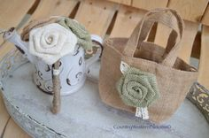 Mini Burlap Flower Girl Bouquet and/or Burlap Tote, Flower Girl Rustic bag and Bouquet