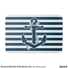Nautical Bath Mat With Anchor And Stripes