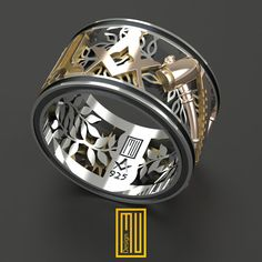 Masonic Ring Unique Design for Men 14k Rose by MuDesignJewelry
