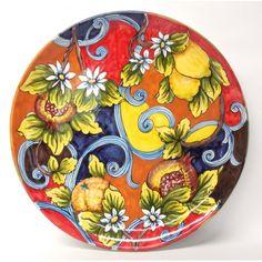 "Bonechi Imports - Tuscan Harlequin 16"" Round Serving Platter"