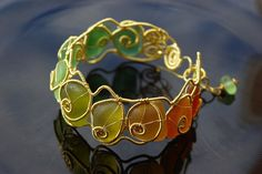 Summer time wire wrapped seaglass bangle. | Flickr - Photo Sharing!