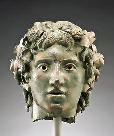 Head of the young Bacchus    Roman, A.D. 1 - 50   Bronze and silver    The J. Paul Getty Museum