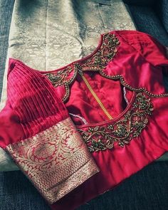 Simple New Blouse Designs - The handmade craft Indian Blouse Designs, Pattu Saree Blouse Designs, Simple Blouse Designs, Stylish Blouse Design, Bridal Blouse Designs, Blouse Neck Designs, Sleeve Designs, Designer Blouse Patterns, Designs For Dresses