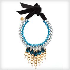 Statement necklace from Clare Hynes £95 http://www.cottonandgems.com/jewellery/necklaces/clare-hynes-blue-yue-necklace