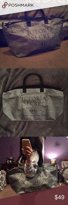 Victoria's Secret Silver Glitter Weekend Bag Great to use for weekend trips, vacations, or a really nice gym bag! Decent size and fits a lot of stuff. Has never been used and is in perfect condition. Has an adjustable strap attached to it. Victoria's Secret Bags Travel Bags