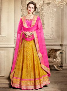 Mustard Brocade Embroidery Work A Line Lehenga Choli 99628