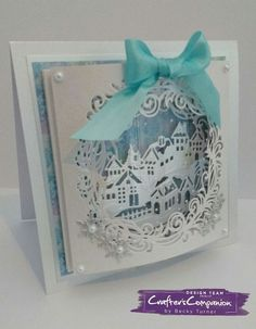 7x7 tunnel card made using Crafter's Companion Die'sire Christmas Create a Card – Winter Wonderland. Designed by Becky Turner #crafterscompanion