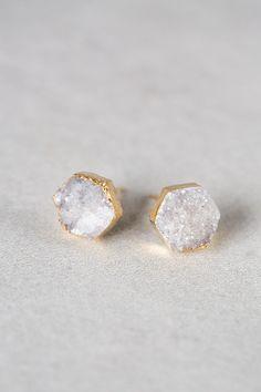 Lovoda - Hexagon Ice Druzy Earrings, $15.00 (http://www.lovoda.com/hexagon-ice-druzy-earrings/)