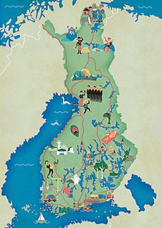 Monocle - Finland and Lebanon Surveys by Vesa Sammalisto, via Behance: Graphic Design Illustration, Illustration Art, Illustrations, Lebanon Culture, Finland Map, Pictorial Maps, Europe, Map Design, Travel Maps