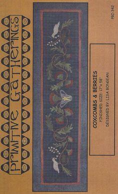 Primitive Folk Art Wool Applique Pattern:  COXCOMBS AND BERRIES. via Etsy. Primitive Folk Art, Primitive Crafts, Wool Applique Patterns, Felted Wool Crafts, Primitive Gatherings, Wool Art, Penny Rugs, Felt Projects, Primitives