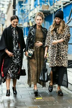 Just walking & talking. Love the faux fur and oversized coats. Autumn/Winter 2017.