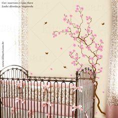 Lindo adesivo de parede Cerejeira Romântica.