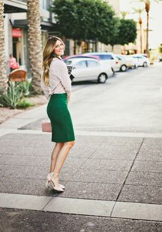 Pine green skirt  Picture 384 « Work Chic: 25 Winter Office-Worthy Outfits — Corporate Fashionista
