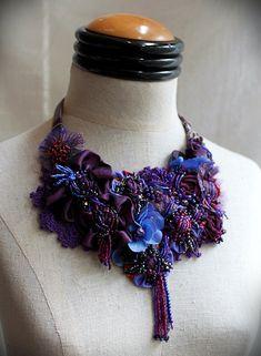 HORTENSIA bleu mixte Textile perles collier par carlafoxdesign