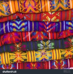 Colorful Native American Mayan Blankets showing patterns and bright colors